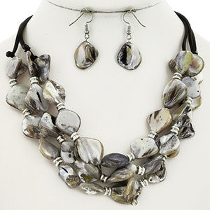 natural Grey Shell Necklace Earring Set